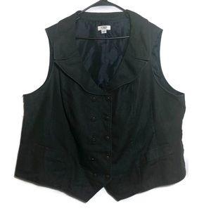 Cato Women's Charcoal Denim V Neck Button Vest 28W